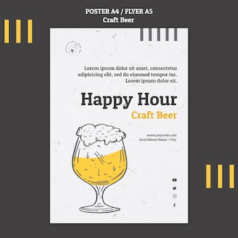 Modèle de flyer de bière artisanale happy hour