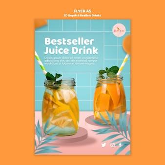 Modèle de flyer de boissons de profondeur et de réalisme 3d