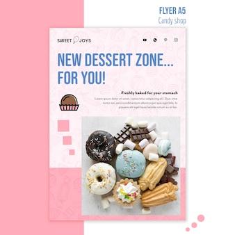 Modèle de flyer boutique de bonbons promotionnels