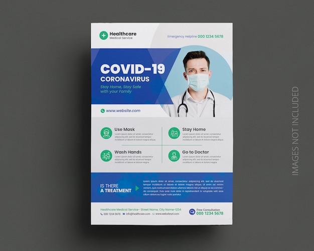 Modèle de flyer de campagne médicale coronavirus covid-19