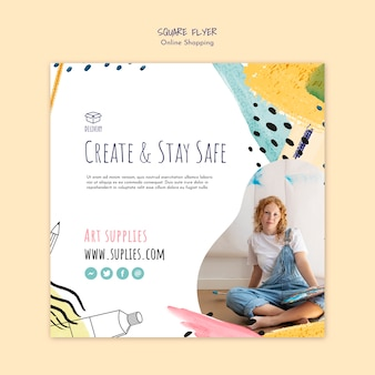 Modèle de flyer carré artiste shopping en ligne