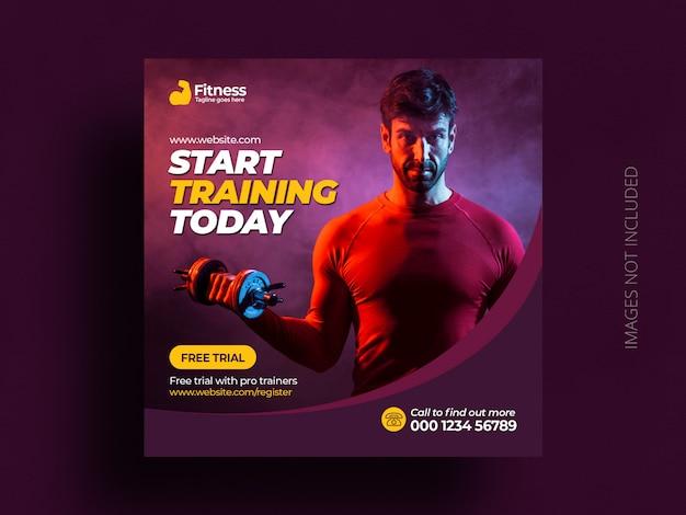 Modèle de flyer carré de bannière de publication de médias sociaux de gym de fitness