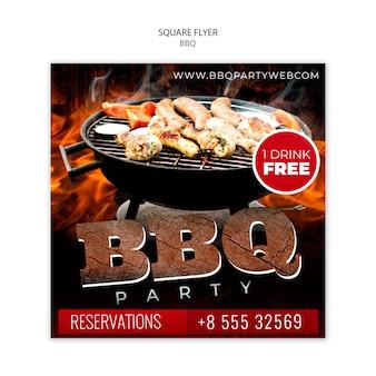 Modèle de flyer carré barbecue party