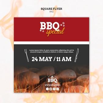 Modèle de flyer carré barbecue spécial et grill