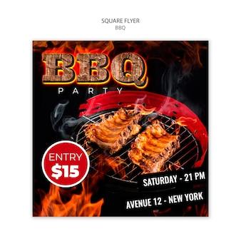 Modèle de flyer carré barbecue