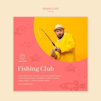 Modèle de flyer carré de club de pêche