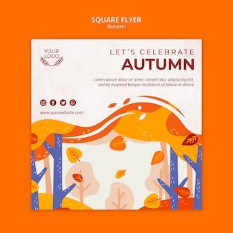 Modèle de flyer carré concept automne