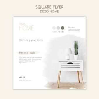 Modèle de flyer carré concept déco maison