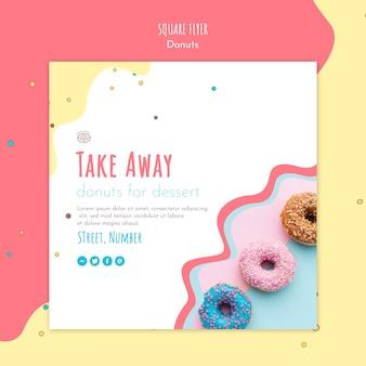 Modèle de flyer carré concept donut