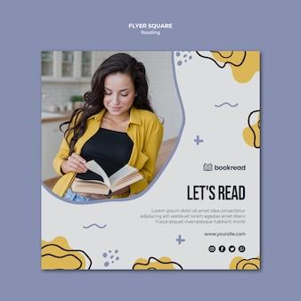 Modèle de flyer carré concept de lecture