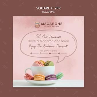 Modèle de flyer carré concept macarons