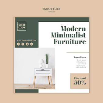 Modèle de flyer carré concept de meubles
