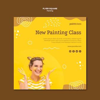 Modèle de flyer carré concept de peinture