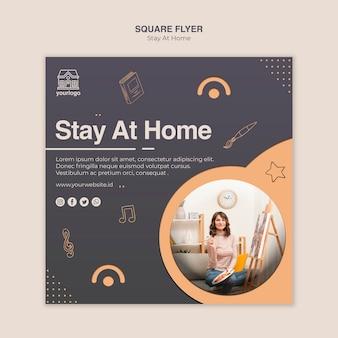 Modèle de flyer carré concept rester à la maison