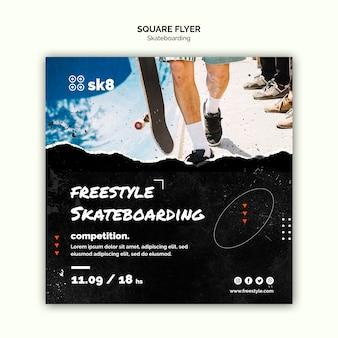 Modèle de flyer carré concept skateboard