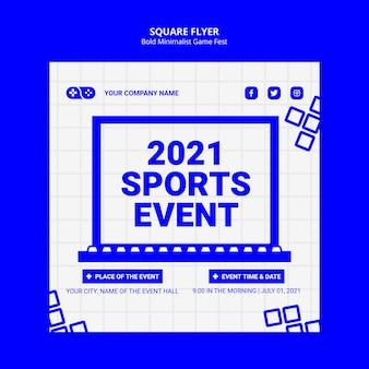 Modèle de flyer carré d'événement e-sports 2021