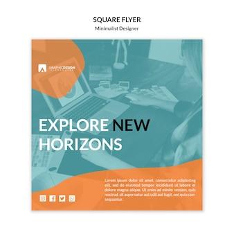 Modèle de flyer carré explorez de nouveaux horizons
