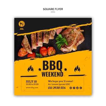 Modèle de flyer carré de fête barbecue