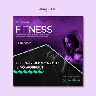 Modèle de flyer carré de fitness