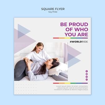 Modèle de flyer carré gay pride
