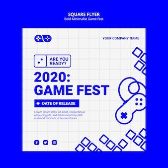 Modèle de flyer carré de jeux vidéo 2020 jam fest