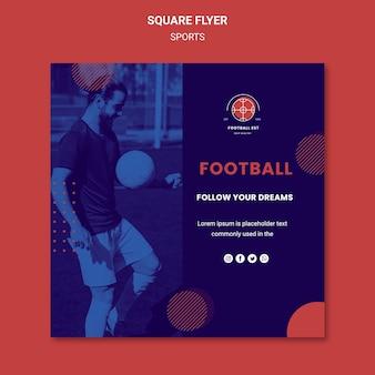 Modèle de flyer carré de joueur de football avec photo