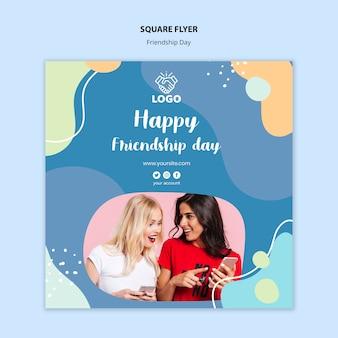 Modèle de flyer carré jour de l'amitié