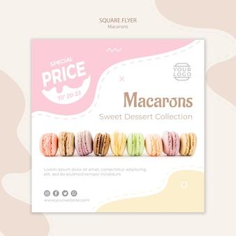 Modèle de flyer carré ligne de macarons
