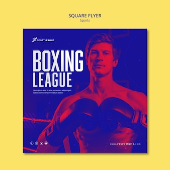 Modèle de flyer carré de ligue de boxe