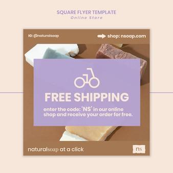 Modèle de flyer carré de magasin de savon fait main
