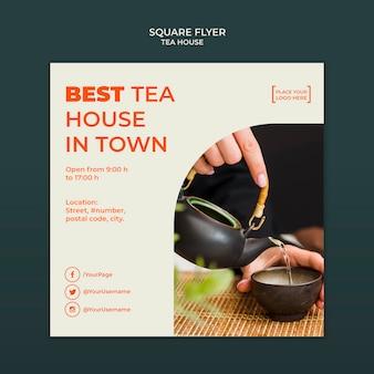 Modèle de flyer carré de maison de thé
