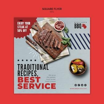Modèle de flyer carré meilleur service bbq