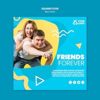 Modèle de flyer carré meilleurs amis
