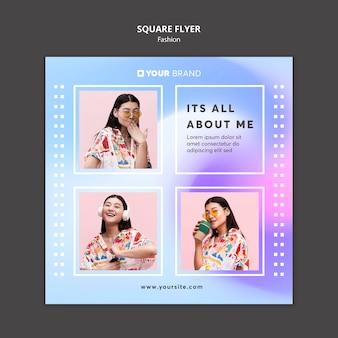 Modèle de flyer carré de mode jolie fille asiatique