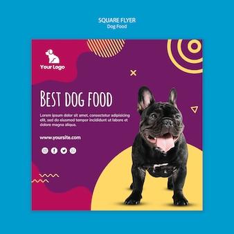 Modèle de flyer carré de nourriture pour chien