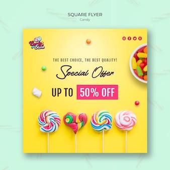 Modèle de flyer carré offre spéciale boutique de bonbons