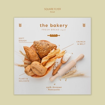 Modèle de flyer carré de pain toujours frais