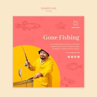 Modèle de flyer carré pêche et homme disparu