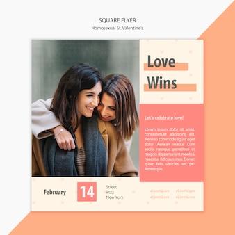 Modèle de flyer carré avec photo de beau couple