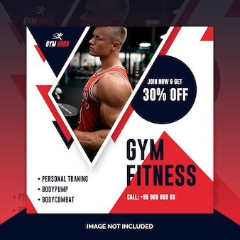 Modèle de flyer carré ou post fitness gym gym