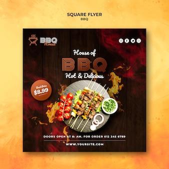 Modèle de flyer carré pour barbecue