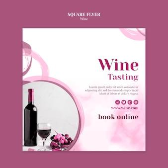 Modèle de flyer carré pour la dégustation de vin