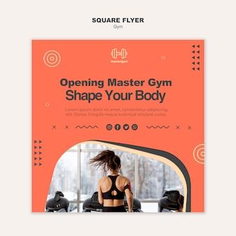 Modèle de flyer carré pour l'exercice de gym
