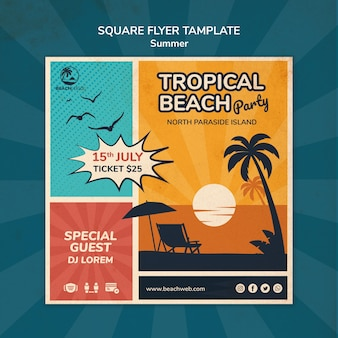 Modèle de flyer carré pour fête à la plage tropicale
