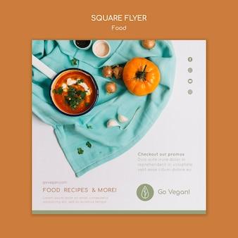 Modèle de flyer carré pour la nourriture végétalienne