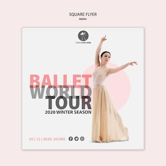 Modèle de flyer carré pour la performance du ballet