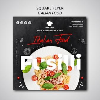 Modèle de flyer carré pour restaurant de cuisine italienne traditionnelle