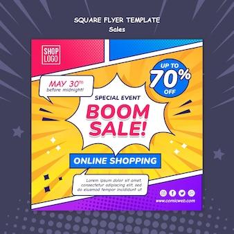 Modèle de flyer carré pour les ventes dans un style bande dessinée