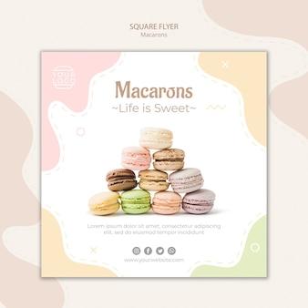 Modèle de flyer carré pyramide de macarons