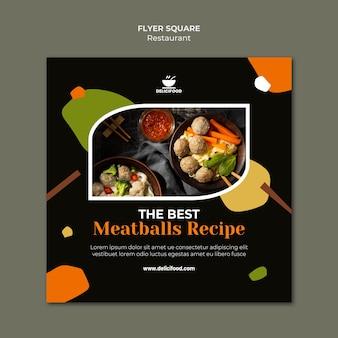 Modèle de flyer carré recette boulettes de viande